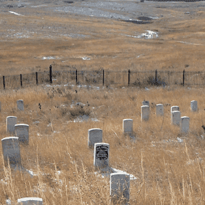 Tombstones mark the site of Custers famous Little Big Horn defeat