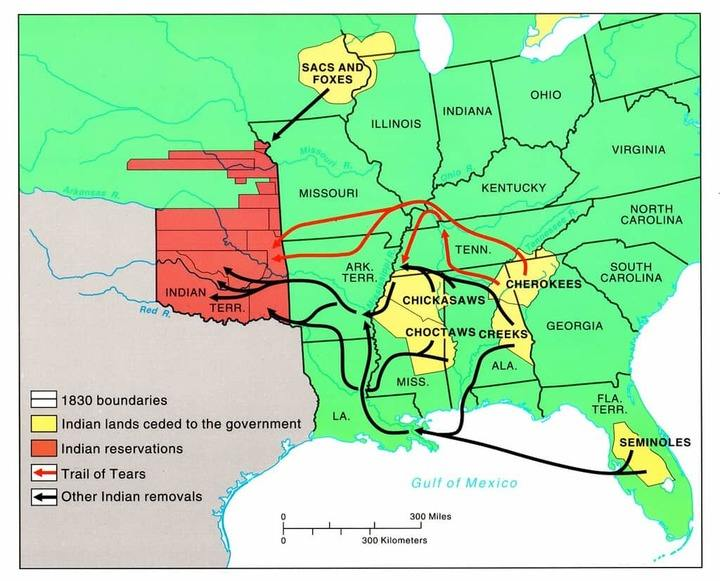 trail of tears indian removal map