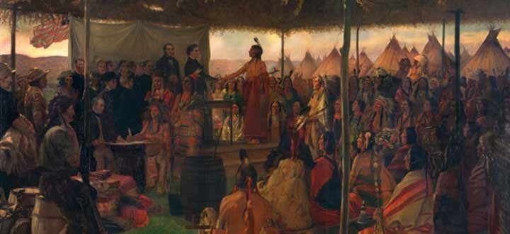 signing the treaty of traverse des sioux