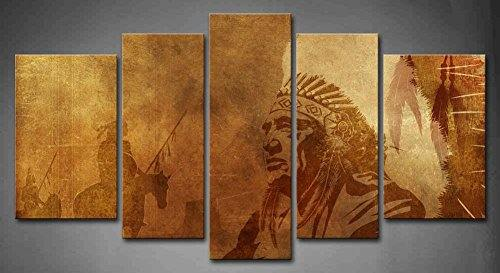 5 Panel Wall Art Brown Native American Chief Warriors On Horses Painting The Picture Print On Canvas People Pictures For Home Decor Decoration Gift Wooden Frame